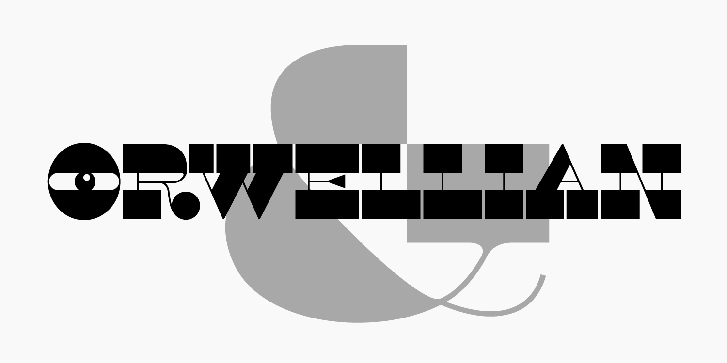 Type specimen of the typeface Orwellian
